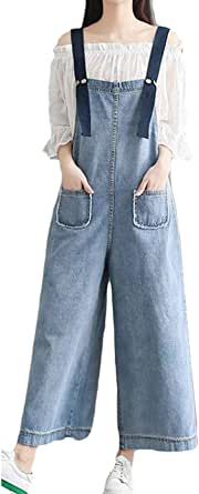 FSSE Women's Wide Leg Palazzo Jeans Pants Loose Fit Plus Size Summer Denim Big Overalls