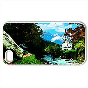 Bavarian Alps - Case Cover for iPhone 4 and 4s (Rivers Series, Watercolor style, White)