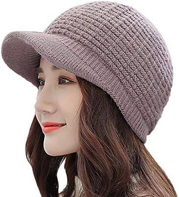 1a13647f354 Amazon.com  Quaanti Women Winter Baggy Warm Hat Rabbit Fur Knitted Ski  Beanie Skull Caps with Visor (Coffee)  Arts