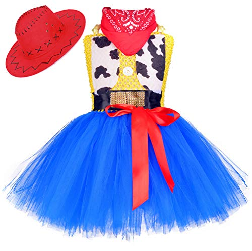 Tutu Dreams Cowgirl Cowboy Costume for Girls Kids Jessie Role Play Dress Costumes Halloween Birthday Party (Jessie, Large(5-6 Years))]()