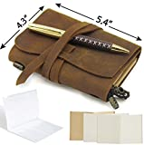 Passport Travelers Notebook Pocket Refillable Leather Journal Amazing Bundle - Small Vintage Genuine Leather Notebook for Writing, Travel Diary, Daily Planner TN 5.4 x 4.3 Pen Holder 3 Papers Zipper