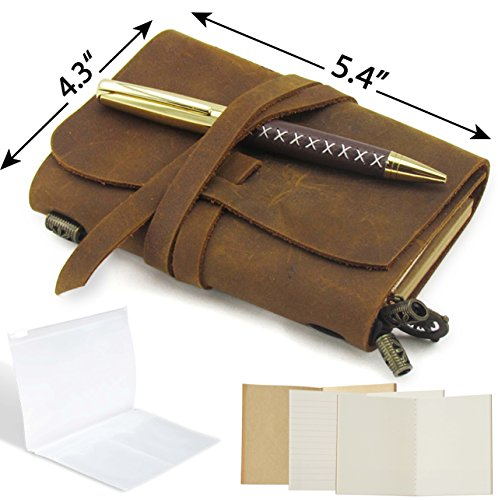 Passport Travelers Notebook Pocket Refillable Leather Journal Amazing Bundle - Small Vintage Genuine Leather Notebook for Writing, Travel Diary, Daily Planner TN 5.4 x 4.3 Pen Holder 3 Papers Zipper - Mini Wrap Journal