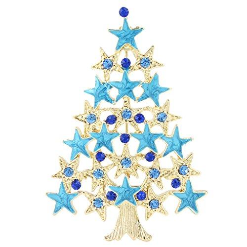 Ever Faith - Broche Bleu étoile Décorative Arbre de Noël Autrichien Cristal Ton-Or N04546-2