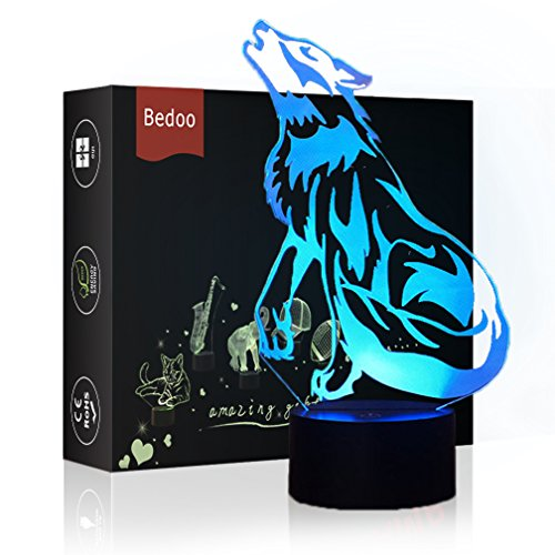LED Night Light 3D Wild Wolf Illusion Bedside Table Lamp 7 Colors Changing Sleeping Lighting with Smart Touch Button Cute Gift Warming Present Creative Decoration Ideal Art and Crafts by Echodream