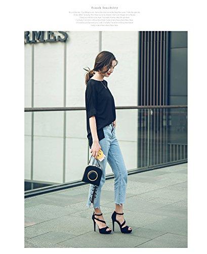 Chaussures Été Nouvelle Noir Sauvage avec Femelle Forme Haute Fine Femmes Coréenne XIAOQI Été Talons Plate Étanche Sandales RwHqxxU6