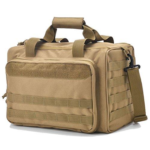 Review Tactical Gun Shooting Range Bag, Deluxe Pistol Range Duffle Bags Tan