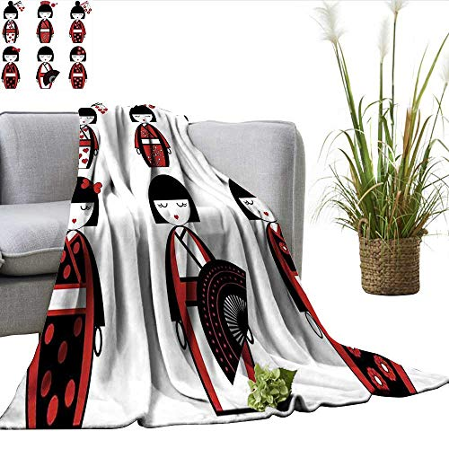 ScottDecor Girls Queen Size Blanket Unique Asian Geisha Dolls in Folkloric Costumes Outfits Hair Sticks Kimono Art Image Sherpa Throw Blanket Black Red W60 xL70 -