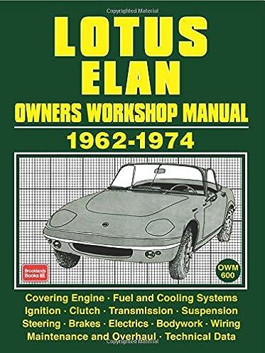 lotus elan owners workshop manual 1962 1974 owners manual workshop rh amazon co uk lotus elan m100 workshop manual lotus elan service manual