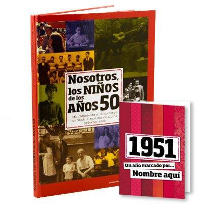 Libro de tu año de nacimiento, libro de la década de los 50 con tarjeta
