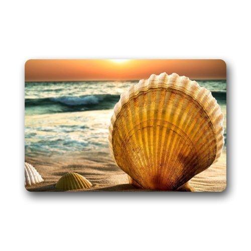 CoolToiletLidCoverCC Home&Apron Door Mat Beautiful Sunset Sea Beach Seashell Doormat Rug Indoor/Outdoor/Front Door/Bathroom Mats Floor Mat 23.6inch X ()