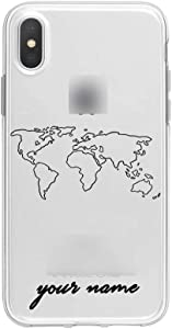 World Map Travel Plans Clear Soft Phone Case Compatible for iPhone Compatible for iPhone X XS Max 7 8 6 Plus XR Cases Line Phone Cover,for iPhone 5 5s Se,OU-132