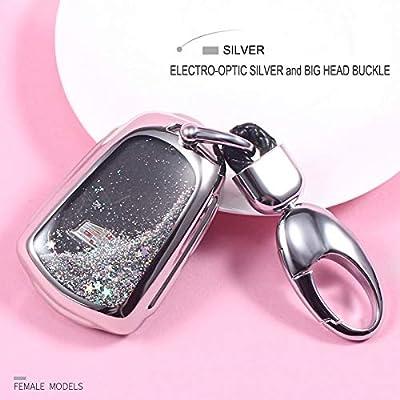 YIJINSHENG TPU Soft Plating Smart Key Fob Remote Cover Case Protector Keyless Jacket for Cadillac CT6 XT5 CTS XTS SRX ATS GTS ATSL HYQ2AB HYQ2EB Car Key Chain (Silver): Automotive