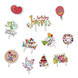 Yunko 100 Pcs Happy Birthday Theme Cupcake Toppers Birthday Party Favors Cake Decoration(Lovely Animal and Balloon)