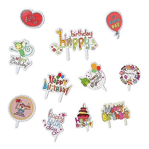 Birthday Theme Cupcake Toppers Birthday Party Favors Cake Decoration(Lovely Animal and Balloon) (Birthday Cupcake Toppers)