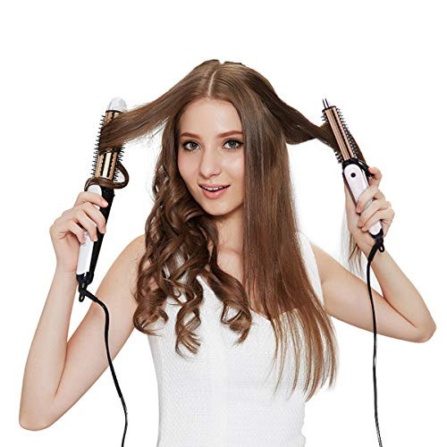 PRITECH 3 in 1 Curling Wand for Hair Straighten Curl Small Wave Ceramic Flat Iron Brush 30 mm White Gold