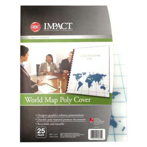 GBC Designer Poly Presentation Covers, World Map Design, Unpunched, 8.5 x 11 -Inches, Frost, 25 Covers per Pack (25825)