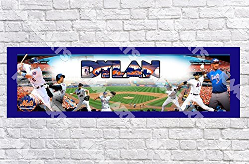Personalized / Customized New York NY Mets Name Poster with Border Mat- Home Wall Decor Birthday Party Door Banner