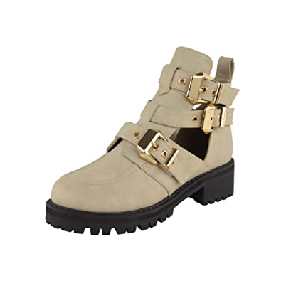 b230f9ffece8 Ladies Womens Mid Heel Buckle Strap Cut Out Chunky Biker Ankle Boots Shoes  Size  Amazon.co.uk  Shoes   Bags