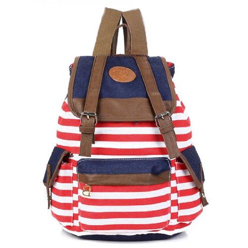 Women Girl Unisex Backpack Canvas Stripe Leisure Bags School bag Rucksack
