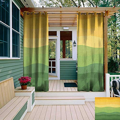 (leinuoyi Abstract, Outdoor Curtain Pair, Green and Yellow Colored Wavy Lines Curves Earth Inspired, for Patio Furniture W84 x L108 Inch Mustard Amber Ginger Reseda Green)