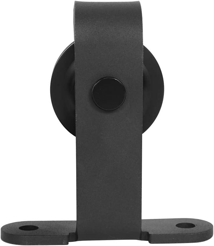 POM 3 m T-Shaped Curved Sliding Barn Double Door Hardware Roller Track Kit Set for Warehouse Cabinet NITRIP Carbon Steel