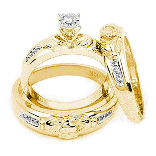14kt Yellow Gold Trio Set His & Her Rings Diamond Claddagh Matching Bridal Ring Band Set 1/8 Cttw(J-K,I2-I3)