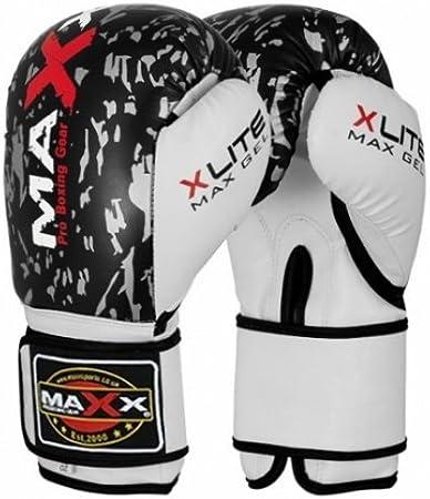 Maxx BLK/plateado adultos guantes de boxeo (piel, 283,5 g Rex – 16oz, 45,5 cl: Amazon.es: Deportes y aire libre
