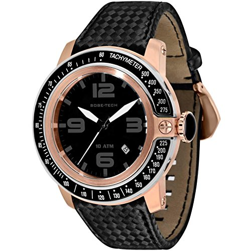 Glam Rock Men's Sobe Tech 50mm Black Satin Band Rose Gold Plated Case Swiss Quartz Analog Watch GR33010A