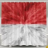 Luase Shower Curtain,Waterproof Polyester Shower Curtain Sets Men/Women,Special Design Indonesia Flag 60X72