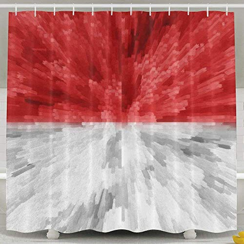 Luase Shower Curtain,Waterproof Polyester Shower Curtain Sets Men/Women,Special Design Indonesia Flag 60X72 by Luase