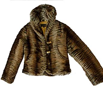 Amazon.com: Baby Phat Fur Jacket Coat, Brown, Medium