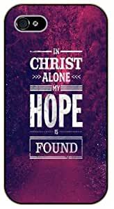 iPhone 4 / 4s In Christ alone my hope is found. Space, nebula - Black plastic case / Inspirational and motivational life quotes / SURELOCK AUTHENTIC