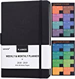 "Planner 2018-2019 with Pen Holder -Academic Weekly, Monthly and Yearly Planner. Thick Paper to Achieve Your Goals & Improve Productivity, 5.75"" x 8.25"", Back Pocket with 68 Notes Pages - lemome"