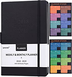 "Planner 2018 - 2019 with Pen Holder -Academic Weekly, Monthly and Yearly Planner. Thick Paper to Achieve Your Goals & Improve Productivity, 5.75"" x 8.25"", Back Pocket with 68 Notes Pages - lemome"