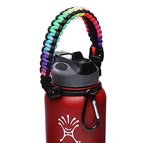 Handle for Hydro Flask - Paracord Survival Strap with Security Ring for Wide Mouth Water Bottles Carrier (Colorful/Black)