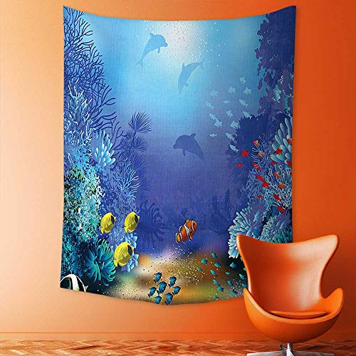 aolankaili Tapestry Wall Hanging Mysterious Tapestry Decor Underwater Coral Reef Polyps Algae Dolphins and Goldfishes Bubbles Deep Print Blue Tapestry Art for Home Decor (Polyp Coral Star)