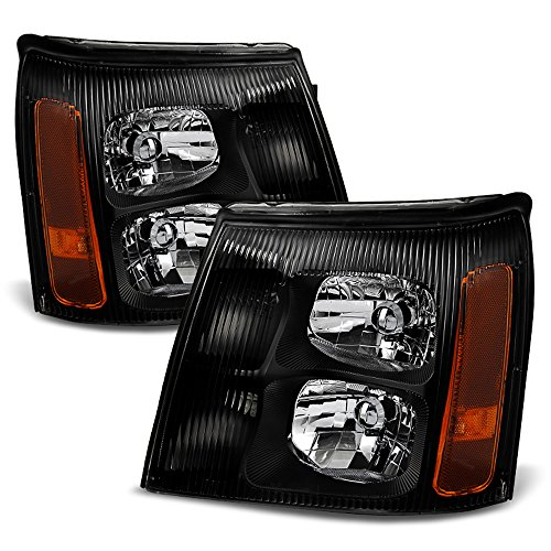 ACANII - For 2003-2006 Cadillac Escalade (HID Model Only) Black Headlights Headlamps Head Lights Driver + Passenger Side