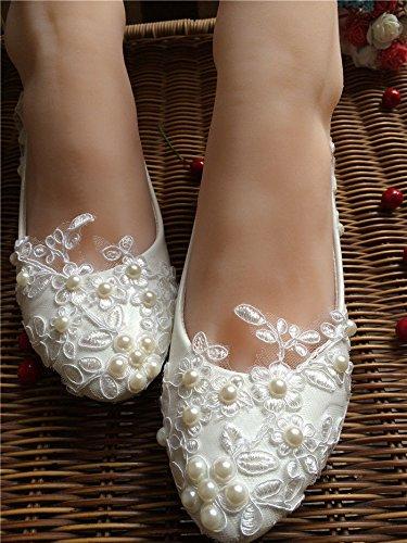 Größe Heel Pump Wohnungen Low 12 Schuhe Spitze 4inch 5 Perlen Hochzeit High Braut 11cm Brautjungfer JINGXINSTORE gwFPUvqn