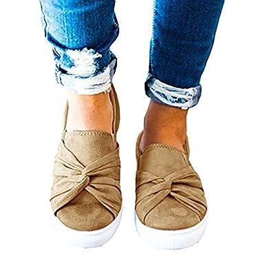 0ff43eb02d31e Huiyuzhi Womens Slip On Top Ruched Knot Flatform Fashion Sneakers Yellow