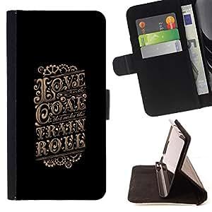 BullDog Case - FOR/HTC DESIRE 816 / - / love gold vintage retro poster black /- Monedero de cuero de la PU Llevar cubierta de la caja con el ID Credit Card Slots Flip funda de cuer