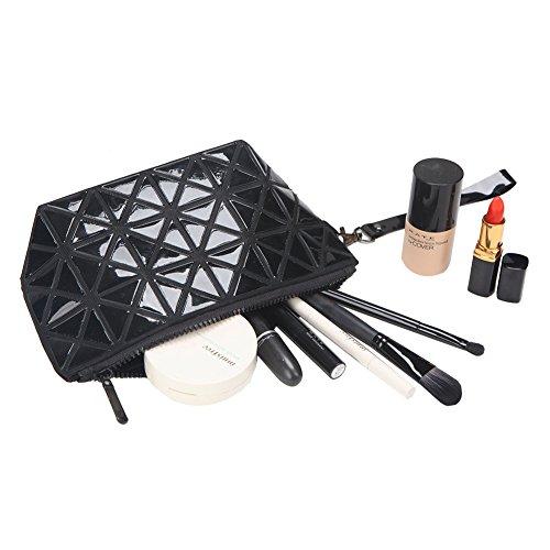 Solarfun Cosmetic Bag Geometric Clutch Split Joint Plaid Makeup Pouch Travel Toiletry Bag for Women Grils