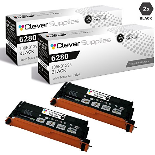 (CS Compatible Toner Cartridge Replacement Xerox 6280 106R01395 Black for Phaser 6280 Phaser 6280DN Phaser 6280N 2 Set)
