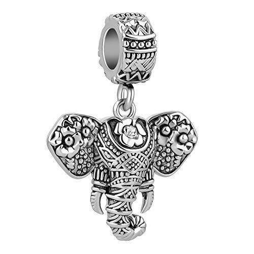 LovelyCharms Lucky Elephant Animal Pendant Dangling Bead for Charms Bracelet