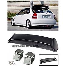 For 96-00 Honda Civic EK9 3Dr Hatchback ABS Plastic Type R Style JDM Rear Roof Top Wing Spoiler Lip W/ SILVER CHROME Alext Tilt Riser Bracket 1996 1997 1998 1999 2000 96 97 98 99 00 CTR EK9 Si Type-R