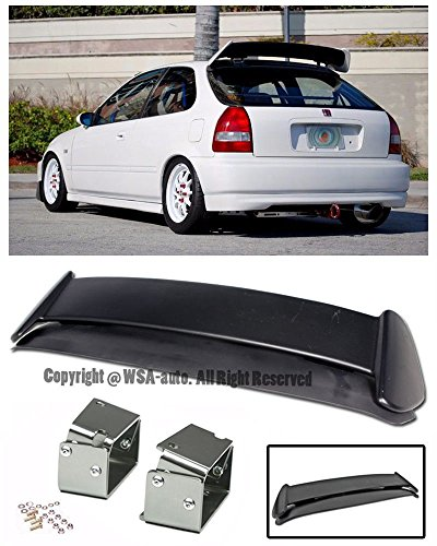 For 96-00 Honda Civic EK9 3Dr Hatchback ABS Plastic Type R Style JDM Rear Roof Top Wing Spoiler Lip W/ SILVER CHROME Alext Tilt Riser Bracket 1996 1997 1998 1999 2000 96 97 98 99 00 CTR EK9 Si Type-R ()