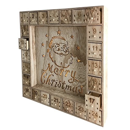 Wooden Christmas Advent Calendar with LED Lights by Shanghai Pioneer Effort Arts&Crafts Co.,Ltd (Image #1)