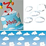 (Set of 5) Fluffy Cloud Plastic Fondant Cutter Cake Mold Fondant Sugar craft Cookies Plunger Cutter Mold Cake Decorating Tools By Palker sky