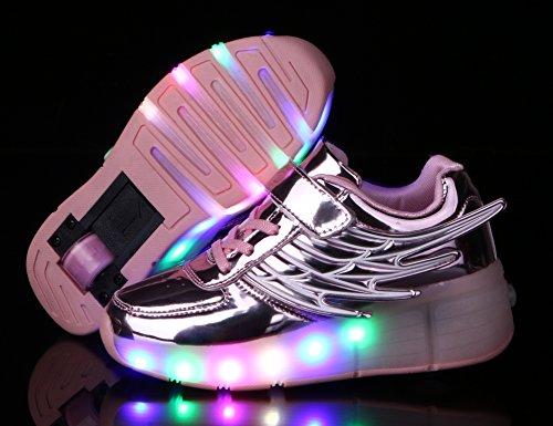 Mr.Ang con Luces LED Coloridos Parpadeante Neutra ruedas de Patines de Rueda Patín Zapatos Zapatos del Patín Zapatos Deportivos Niños y Niñas de Calzado Deportivo Zapatos de Skate K02 Rose
