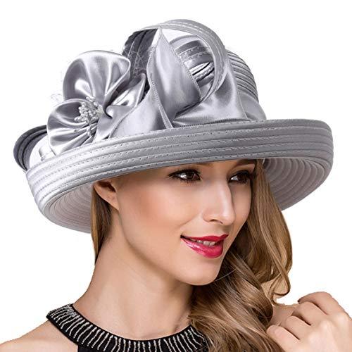 Lady Church Derby Dress Cloche Hat Fascinator Floral Tea Party Wedding Bucket Hat S051 (S710-Silver Grey)