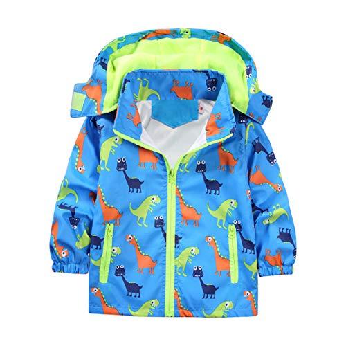 (ACESTAR Dinosaur Boys Jacket Windbreaker Girls Coat with Removable Hood Light Weight Coat Outwear (JK012B0,3T))